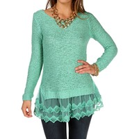 Mint Long Sleeve Mesh Crochet Sweater