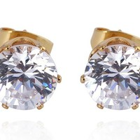 Encounter Gold Plated Round Swarovski Element Crystal Earrings Studs