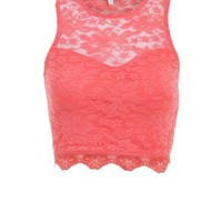 New Look Mobile | Coral Lace Sweetheart High Neck Crop Top