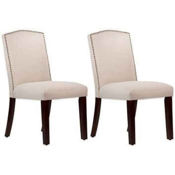 Roseyln Nail Button Arched Dining Chairs in Linen Talc (Set of 2)