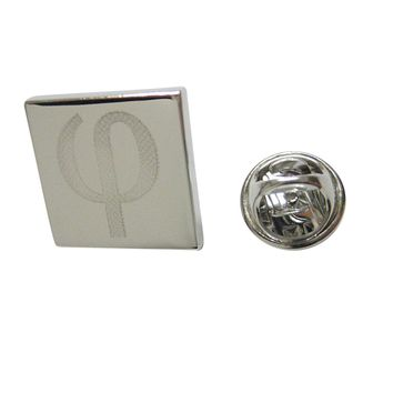 Silver Toned Etched Greek Letter Phi Lapel Pin