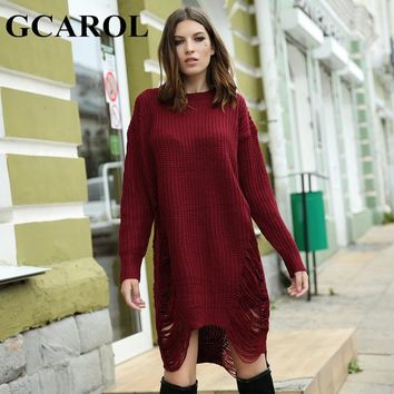 New Arrival GCAROL New Arrival Fashion Ripped Knitwear Women Long Sweater Dress Oversized Asymmetric Autumn Winter Knitted Dress