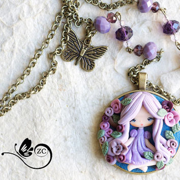 polymer clay necklace/ fairy collection / fimo / zingara creativa / doll