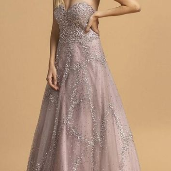 Rhinestone Embellished Strapless Long Prom Dress Mauve