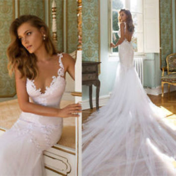 V Neck Backless Lace Wedding Dress Cathedral Train Bridal Gown Custom Size 4 6
