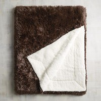 Chocolate Shaggy Sherpa Throw