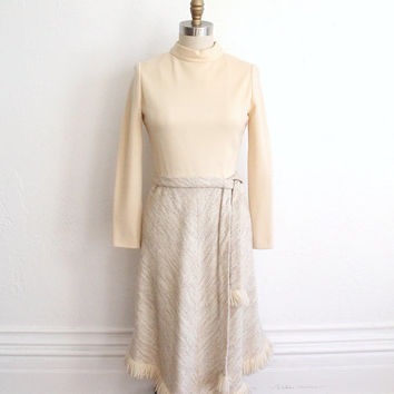Vintage 60s Winter White Wool Long Sleeve Dress with Fringe // Holiday Dress