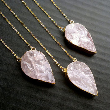 Rose Quartz Necklace Rose Quartz Pendant Rose Quartz Teardrop Necklace Raw Pink Stone Necklace Stone Jewelry Rough Rose Quartz Connector