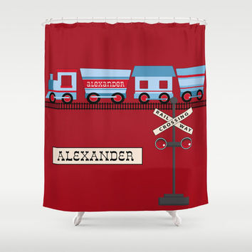 All Aboard Personalized Shower Curtain