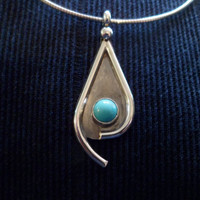Authentic Navajo,Native American,Southwestern Sterling silver Sleeping Beauty turquoise teardrop pendant/necklace.