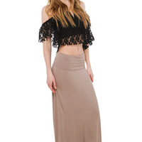Show Me The Way Mocha Maxi Skirt