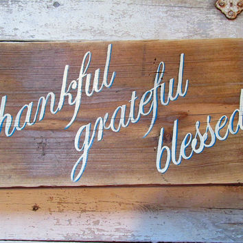 Rustic Wood Wall Signs With Quote, Inspirational Sayings, Christmas Gift, Thankful Grateful Blessed