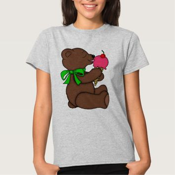 Teddy Bear with Ice Cream Cone Print T-Shirt