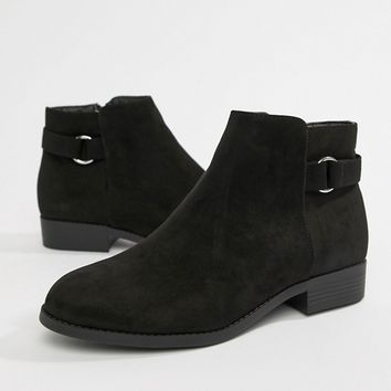 New Look Wide Fit Flat Ankle Boot at asos.com