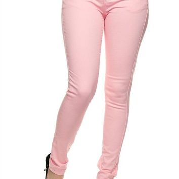 Basic Color Cotton Skinny Twill Jean Pants with 5 Pockets and Button Fly