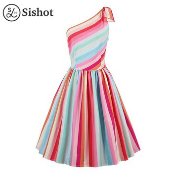 women dresses summer multi color stripes a line rainbow sleeveless one shoulder knee length dress