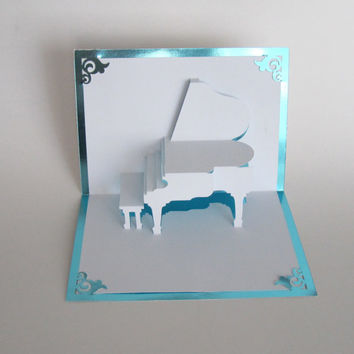 GRAND PIANO 3D Pop Up CARD Origamic Architecture Home Decoration Handmade Handcut in White and Metallic Bright Turquoise One Of A Kind