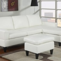 Birmingham Reversible Left / Right Sectional Couch with Free Ottoman Faux Leather (White)