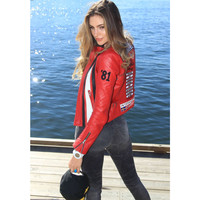 Guess Gumball 3000 Red Leather Womens Jacket