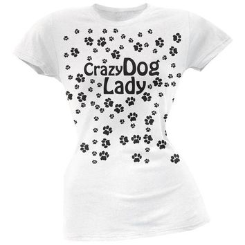 LMFCY8 Crazy Dog Lady Paw Prints White Soft Juniors T-Shirt