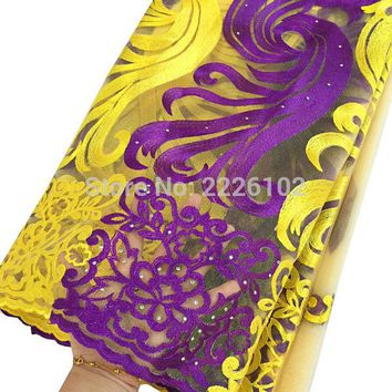 2016 Purple african lace fabric for aso ebi orange cream yellow french lace fabric with stones white latest tulle lace