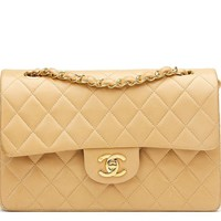 CHANEL BEIGE QUILTED LAMBSKIN VINTAGE SMALL CLASSIC DOUBLE FLAP BAG HB1028