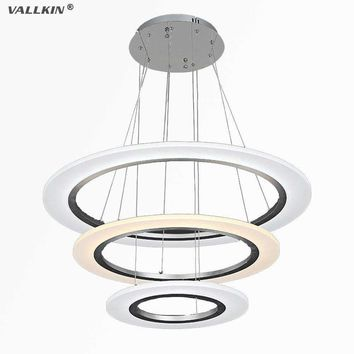 VALLKIN LED Pendant Lights Modern Kitchen Acrylic Suspension Hanging Ceiling Lamp Dining Table Lighting for Home 50W FCC CE ROHS