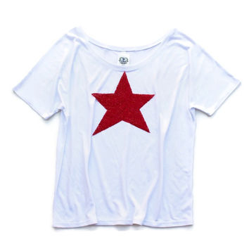 Merica Sequin Star Tee - Your Choice in Star Patch Color