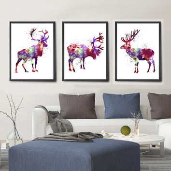 Buy 2 Get 1 FREE!!! Deer Watercolor Art, Deer Decor, Christmas Deer, For Gift, Animal Art, Deer Art, Wall Hanging, Wall Decor, Wall Art(207)