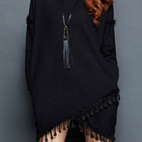 Black Tasseled Assymetric Sweater Dress
