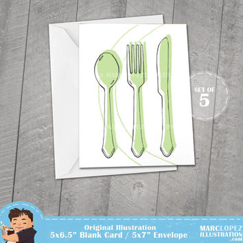 Custom Color Invitations, Set of 5 Cards with 5x7 white envelopes, Spoon Knife and Fork, Note Cards for any occasion, Blank and White Print