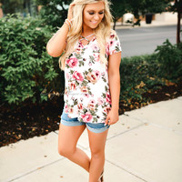 Sweet Secrets Floral Cross Top (white)