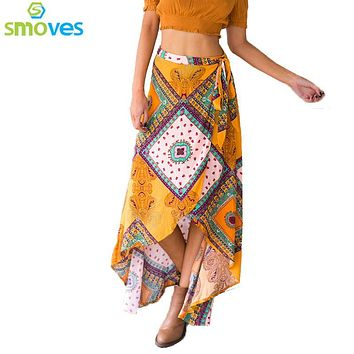 SK113 Womens Floral Print Bohemia Magic Maxi Skirt Boho Hippie Summer Beach Asymmetrical Wrap Long Skirt with Tie Up Straps New