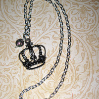 Vintage Style Royal Crown Necklace Pendant Charm w/ Glass Bead Princess Queen Gothic Punk Emo Scene FREE SHIPPING To USA & Canada