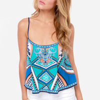 Take a Little Trip Blue Scarf Print Crop Top