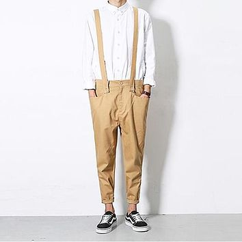 Korean style male summer stylish black cotton brace overalls suspender romper ankle length harem jumpsuits pants for men