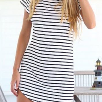 2015 New  Elegant Women Shirt Dress Top Tee Summer Style Short Sleeve Stripes Loose Casual Jersey Mini Shift Dress T-shirt