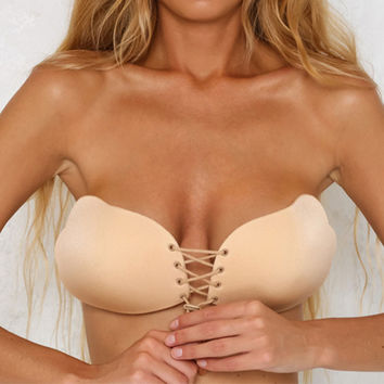 Drawstring Push-Up Adhesive Bra