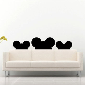 Wall decal decor decals sticker art design vinyl disney baby head mice ears mickey mouse gift kids children nursery (m1132)