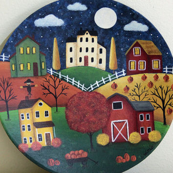 Primitive Folk Art Halloween Hand Painted Plate  - MADE TO ORDER - Saltbox Houses, Barn, Sheep,  Cart Filled With Pumpkins, Moon and Clouds