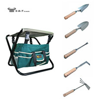 Seven-In-One Garden Tool Set,Heavy Duty Folding Stool, detachable Canvas Tool Bag