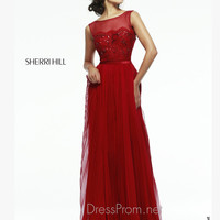 Sleeveless Illusion Neckline Formal Prom Gown By Sherri Hill 4804