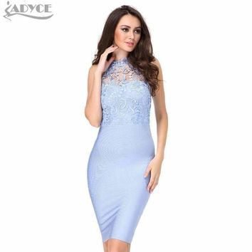 Women Lace Bandage dress Pink Blue Floral O Neck Sleeveless Mini Bodycon Lady Club Evening Prom Partydress