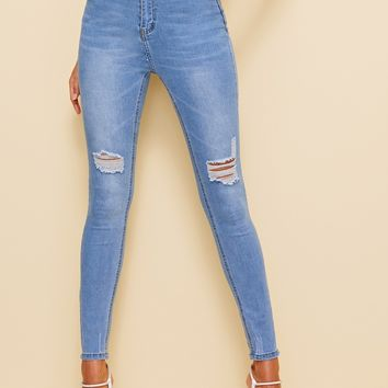 Ripped Light Bleach Dye Skinny Jeans