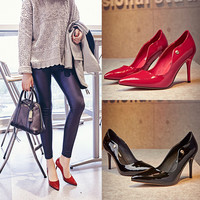 Summer Leather Pointed Toe High Heel Shoes [6050209153]