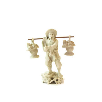 Antique Chinese Sculpture Statue Fisherman with Fish Baskets / Asian Statuette Figure / Hand Carved Chinese Fisherman