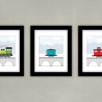 Kids Train Art - Boy Room Decor - Train Engine, Car and Caboose - Set of 3, each 8x10
