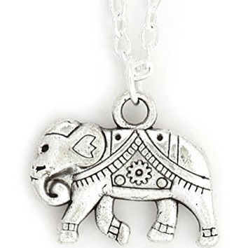 Elephant Necklace Silver Tone NW41 Indian African Charm Pendant Fashion Jewelry