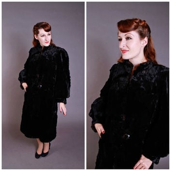 Vintage 1930s Coat - Incredible Black Sheared Fur Coat with Fantastic Sleeves - Midnight Matinee