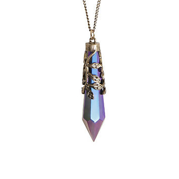 Blackheart Blue And Purple Crystal Charm Necklace
